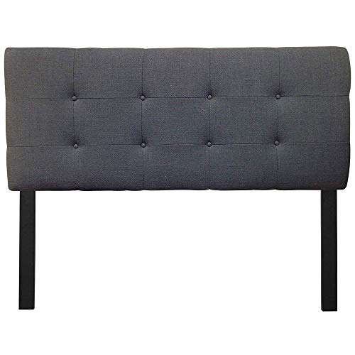 (Sole Designs Ali Collection Padded Adjustable California King Sized Upholstered Bedroom Headboard with 8 Button Tufting, Loft Series, Charcoal Finish)