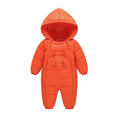 bambino ragazza cappuccio Ragazzo Pagliaccetto pagliaccio caldo arancione Inverno Ahatech con Unisex da Tuta Cvvtq