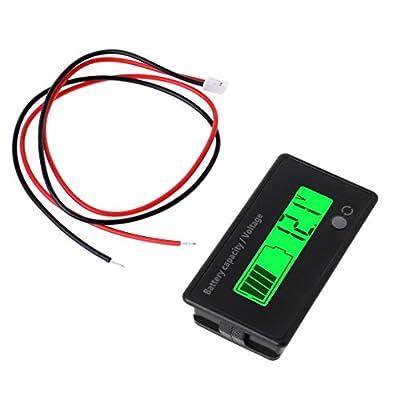 Forgun 12V-84V Lead-Acid Battery,Capacity Indicator Voltage Meter Voltmeter LCD Monitor