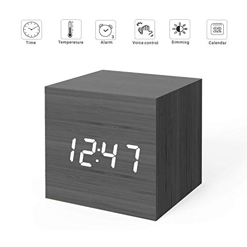 MiCar Digital Alarm Clock, Wood LED Light Mini Modern Cube Desk Alarm Clock Displays Time Date Temperature Kids, Bedroom, Home, Dormitory, Travel (Black) ()