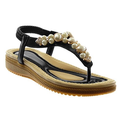 Angkorly Women's Fashion Shoes Sandals Flip-Flops - Ankle Strap - Pearl - Jewelry Wedge Platform 2.5 cm Black