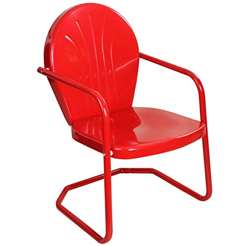 LB International 34″ Vibrant Red Retro Metal Outdoor Tulip Chair For Sale