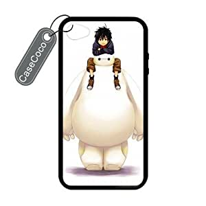 CASECOCO(TM) Favorite Comic Big Hero 6 Baymax iPhone 4/4s Case- Protective Hard Back / Black Rubber Sides Case for iPhone 4/4s