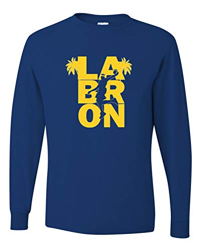 X-Large Royal Adult LA Bron King of Los Angeles Long Sleeve T-Shirt (Los Angeles Kings Burger King Jersey For Sale)