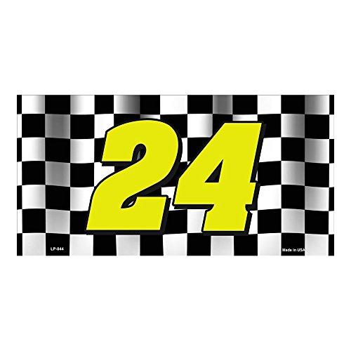 Lievon Jeff Gordon NASCAR #24 Checkered Racing Flag Novelty Vanity Metal License Plate Tag Sign