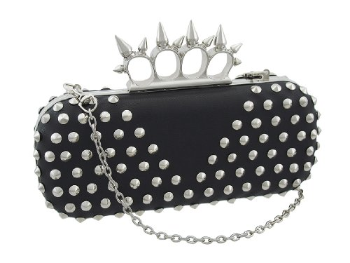 Black and Chrome Studded Clutch with Spiked Knuckle Duster Handle, Bags Central