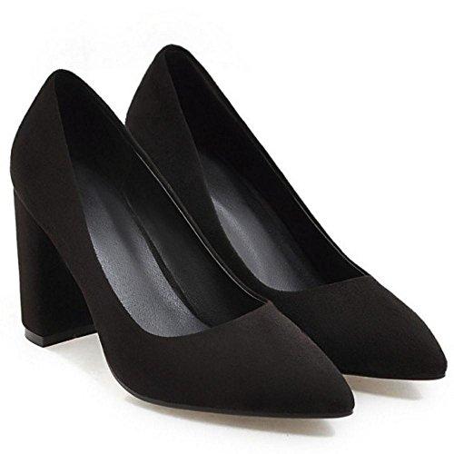 Shoes 16 Block Black Heel Women High Pumps TAOFFEN wyqZ10X8w