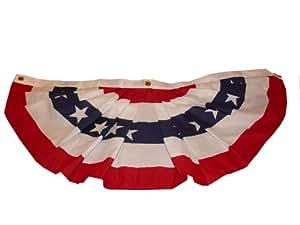 America Fan Flag -  1-1/2 -by-3 Feet Pleated Poly/Cotton Fan Flag #25422