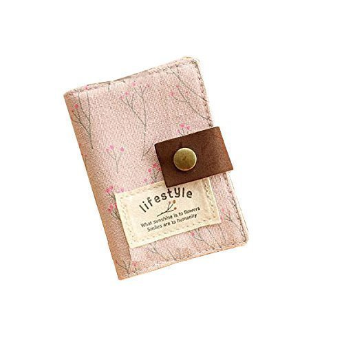 Hurricanes 20 Pockets Retro Portable Canvas Floral Girly Name Business Credit Card Holder Instant Pictures Photo Album for Polaroid Fujifilm Instax Mini 70 7S 8 25 50S 90 Films - Pink [並行輸入品]   B077M569GY