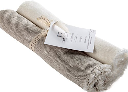 Set of 2 Linen Kitchen Towels Dish Cloth Stone Washed Towels in Ivory and Grey Size 17'' x 27''  Pure Linen with High Absorption, Soft Fabric and Lint-Free Safe for Machine Wash Drying - 27' Bath Bar