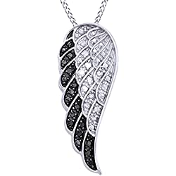 White & Black Natural Diamond Angel Wing Pendant Necklace in 14k Gold Over Sterling Silver (0.25 Ct)