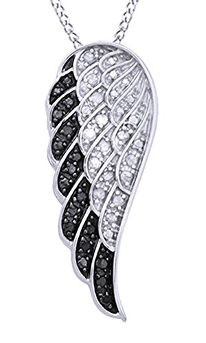 White & Black Natural Diamond Angel Wing Pendant Necklace in 14k White Gold Over Sterling Silver (0.25 Ct)