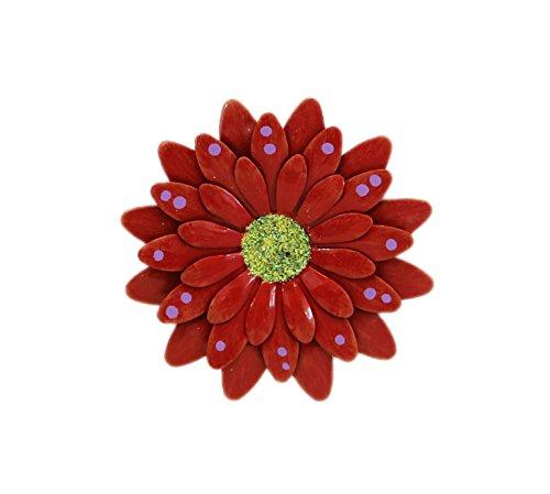 Red Polkadot Gerbera Daisy Magnet - Set Of 3