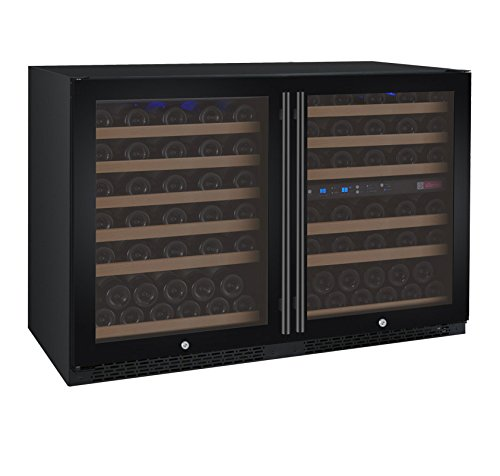 Allavino 112 Bottle Built-In Three-Zone Wine Cooler Refrigerator Black Glass Doors by Allavino