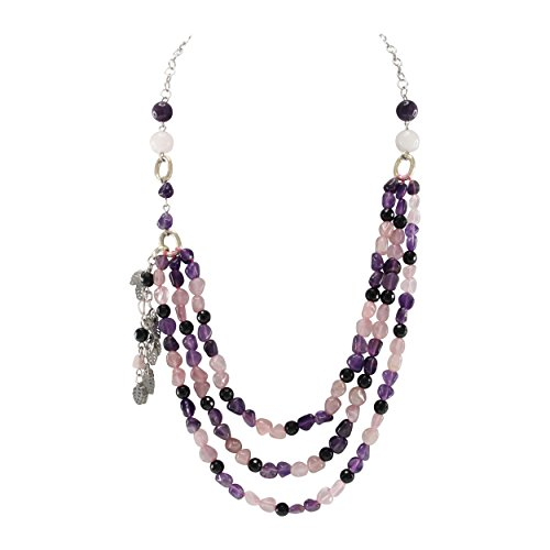 Amethyst Bib - Pearlz Ocean Black Agate Rose Quartz Amethyst Beads Bib Strand Necklace Fashion Jewelry for Women