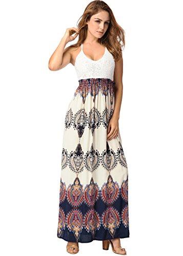 Falda sin mangas de las mujeres de la falda de las mujeres Vestido largo maxi atractivo de la impresión Backless