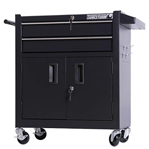 Heavy Duty Cart Steel Rolling Tool Box with Lockable Drawers and Doors (TZ12A Black) ()