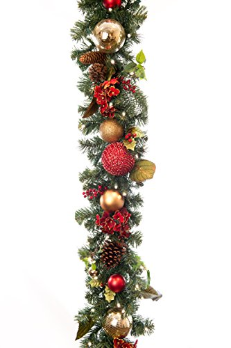 Scarlet Hydrangea 9' Pre-Lit Decorated Garland by VILLAGE LIGHTING COMPANY