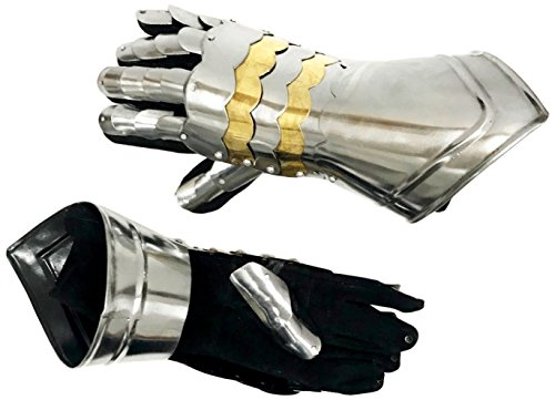 Reproduction Medieval Gauntlets - SteelBrass Accents and Cutouts - (Medieval Gauntlets)