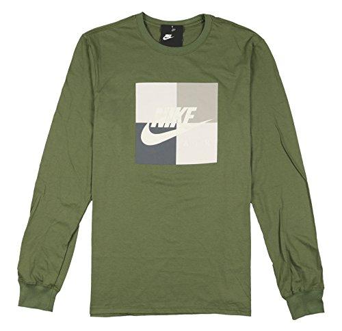 Nike Men's Air Boxed Blocked Long Sleeve Shirt Large Olive Green Gray Pearl - Training Nike Shirt Mlb