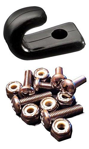 - 6 J-Hooks & 6 Stainless Steel Screws with Lock Nuts for Kayak Bungee Cord - Lashing Hook