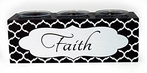 StealStreet NAE-360 Ss-Ug-Nae-360, 9'' ''Faith'' Inspirational 3 Votive Candle Holder, black & White by StealStreet
