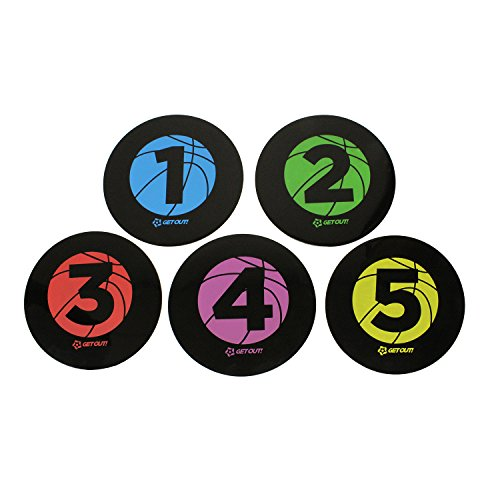 Get Out! Basketball Training Large 9in Disc Spot Markers 5-Pack - Round Flat Numbered Court Floor Poly Vinyl Spots