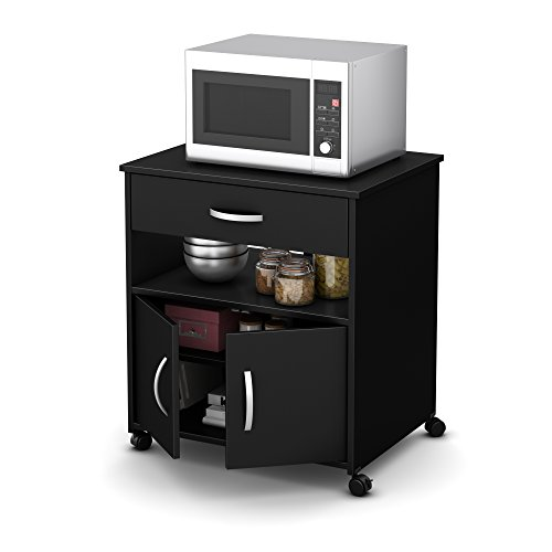 South Shore Fiesta Microwave Cart On Wheels, Pure Black At A Glance