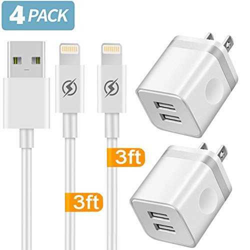 (Phone Charger 3ft Cable with Plug (4- in-1), YANME Dual USB Wall Charger Adapter with 3 Feet Long Charging Cord Compatible with Phone Xs/Xs Max/XR/X 8/7/6/6S Plus SE/5S/5C, Pad, Pod(UL)
