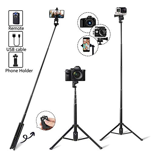 Eocean Selfie Stick Tripod, 54 Inch Extendable Camera Tripod for Cellphone and Gopro, Compatible with iPhone Xs/Xr/Xs Max/X/8/8Plus/7/Galaxy Note 9/S9/Huawei/Google/Xiaomi (Tripod Call Phone)