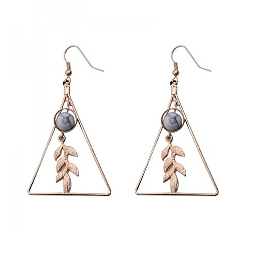 Fashion Vintage Hollow Out Triangle Marble Round Beaded Leaf Earrings For Woman,Gray G