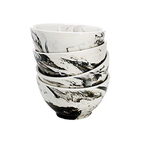 overandback 809578 Marble Finish Bowls, Set of 4, Licorice