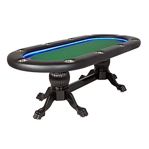 BBO Poker Elite Alpha Poker Table with LED for 10 Players with 94 x 44-Inch Oval (Green Suited Speed)