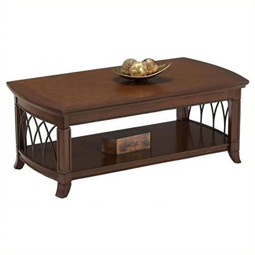 Shelve Cocktail Table Set (Cocktail Table w Metal Accents & Shelf in Warm Cherry Finish)