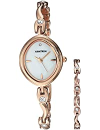 Women's 75/5543MPRGST Swarovski Crystal Accented Rose Gold-Tone Watch and Bracelet Set