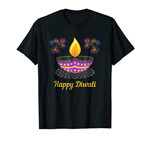 Mens Happy Diwali Diya T-Shirt For Diwali Celebrations XL Black by Diwali Shirts Co
