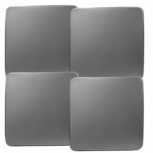 Reston Lloyd Square Gas Stove Burner Covers, Set of 4, Stainless Steel Look