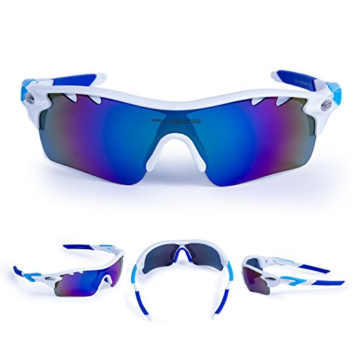 RIVBOS 801 POLARIZED Sports Sunglasses with 5 Interchangeable Lenses (White&Blue)