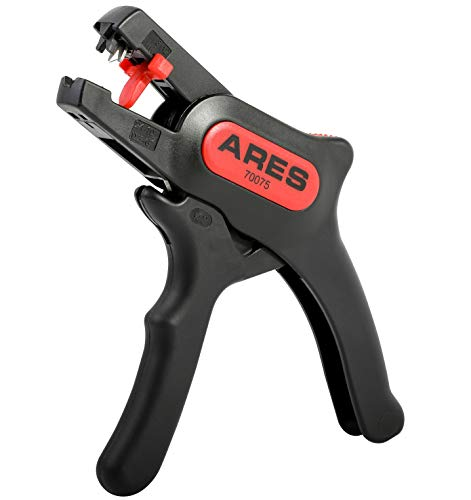 ARES 70075 - Automatic Wire Stripper and Cutter - Self-Adjusting Jaws Easily Strip 10-24 AWG Wire - Built in Cutter Cuts Up to 12 AWG Wire - Simultaneously Grips and Strips Wire with Ease
