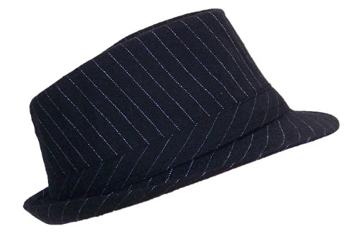 (Fedora Hat With White Pinstripes 100% Polyester Adult (One Size) - Black 58CM)