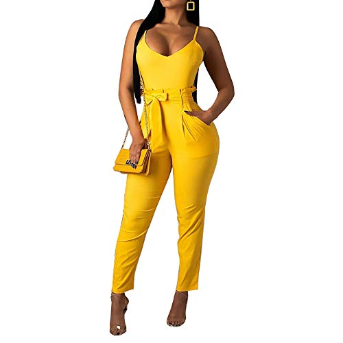 IyMoo Women Bodycon Long Jumpsuit Rompers Spaghetti Strap Belted Jumpsuits Romper Clubwar Yellow S
