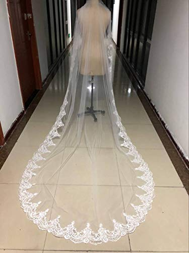 - Bridal Veils Single Tier White Ivory Cathedral Accessories with Lace Applique Edge Wedding Veil Soft Tulle Vintage Impression Boutique Designers Stylish,White,3m