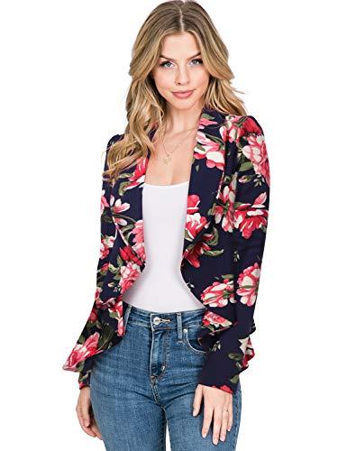 CLOVERY Women's Long Sleeve Open Front Lightweight Work Office Blazer Jacket, NAVYPINK Large