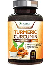 Turmeric Curcumin with BioPerine 95% Curcuminoids 1950mg with Black Pepper for Best Absorption, Made in USA, Natural Immune Support, Turmeric Supplement by Natures Nutrition - 120 Capsules