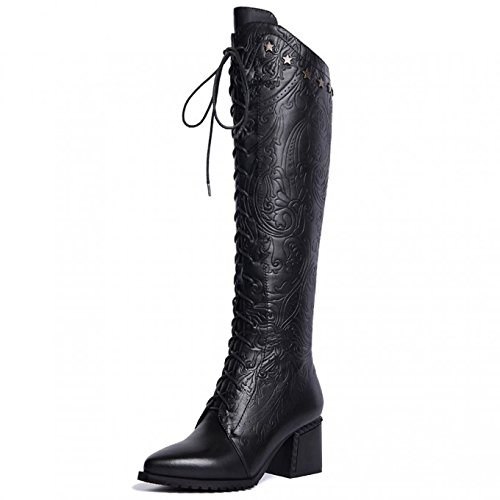 Sequined Knee High Boot (VIMISAOI Women's Genuine Leather Sequined Lace Up Chunky Heel Punk Knee High Western Boot)