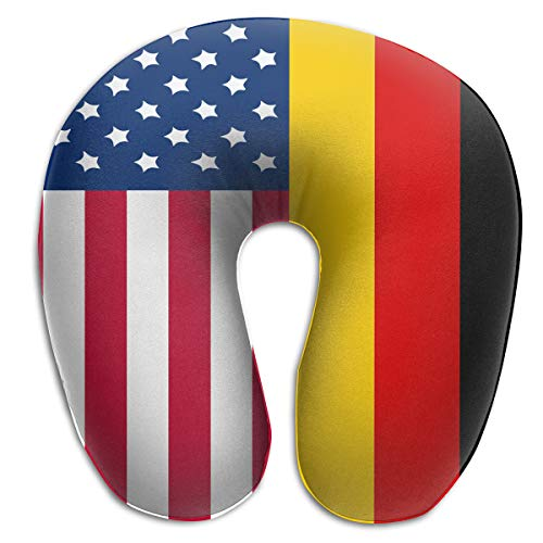FANTASY SPACE Soft Polyester Compact Neck Pillow Neck & Head Support Sleeping Rest Cushion for Home Restful Sleep Car in Machine Washable (German American Flag)