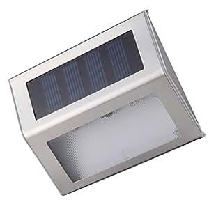 Blesiya Sensor De Luz Solar Automático Pared Al Aire Libre Jardín Llevó Escaleras Lámpara - Blanco cálido