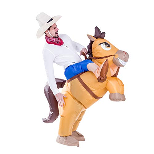 Best Horse And Rider Halloween Costumes (Spooktacular Creations Inflatable Cowboy Riding a Horse Air Blow-up Deluxe Halloween Costume - Adult)