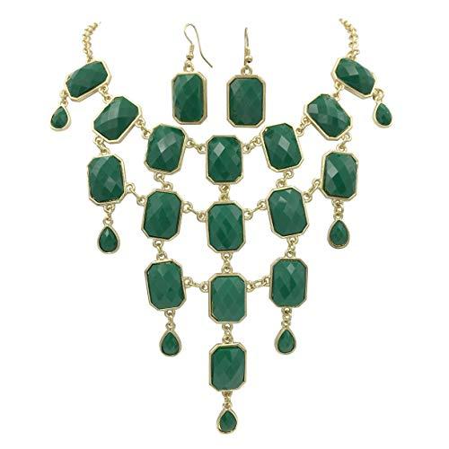 - Gypsy Jewels Multi Shape Large Bib Chunky Statement Necklace & Dangle Earrings Set (Dark Green)