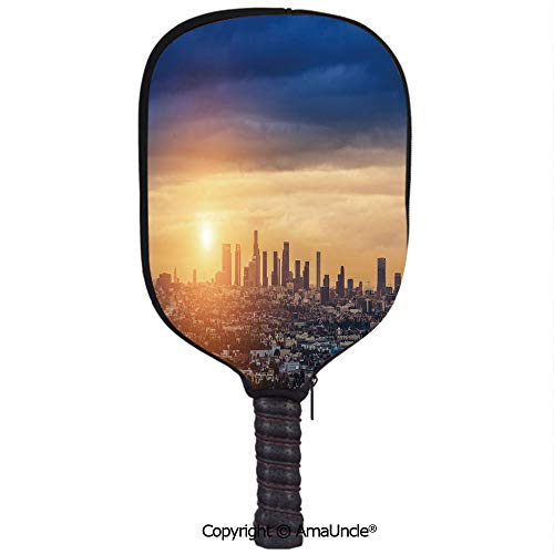 SCOXIXI 3D Pickleball Paddle Racket Cover Case,Sunrise at Los Angeles Urban Architecture Tranquil Scenery Majestic SkyCustomized Racket Cover with Multi-Colored,Sports Accessories